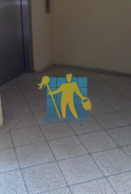 terrazzo tiles dirty floor entrance lift perth