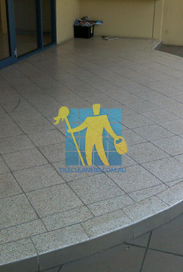 terrazzo tiles outdoor floor entrance curved dirty before cleaning perth
