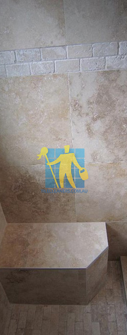 travertine tiles floor wall bathroom natural stone shower with seat perth